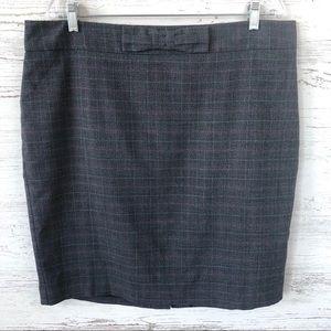 LOFT Factory Plaid Pencil Skirt with Bow